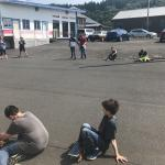 Students testing solar cars