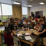 Students build a paper table
