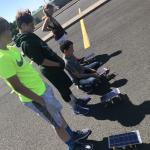 Students testing their solar cars