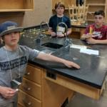 Students create a spaghetti bridge